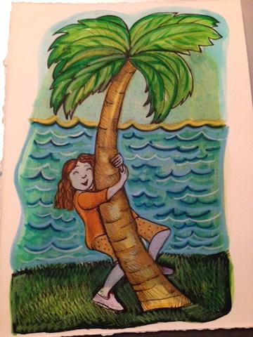 hug a palm tree