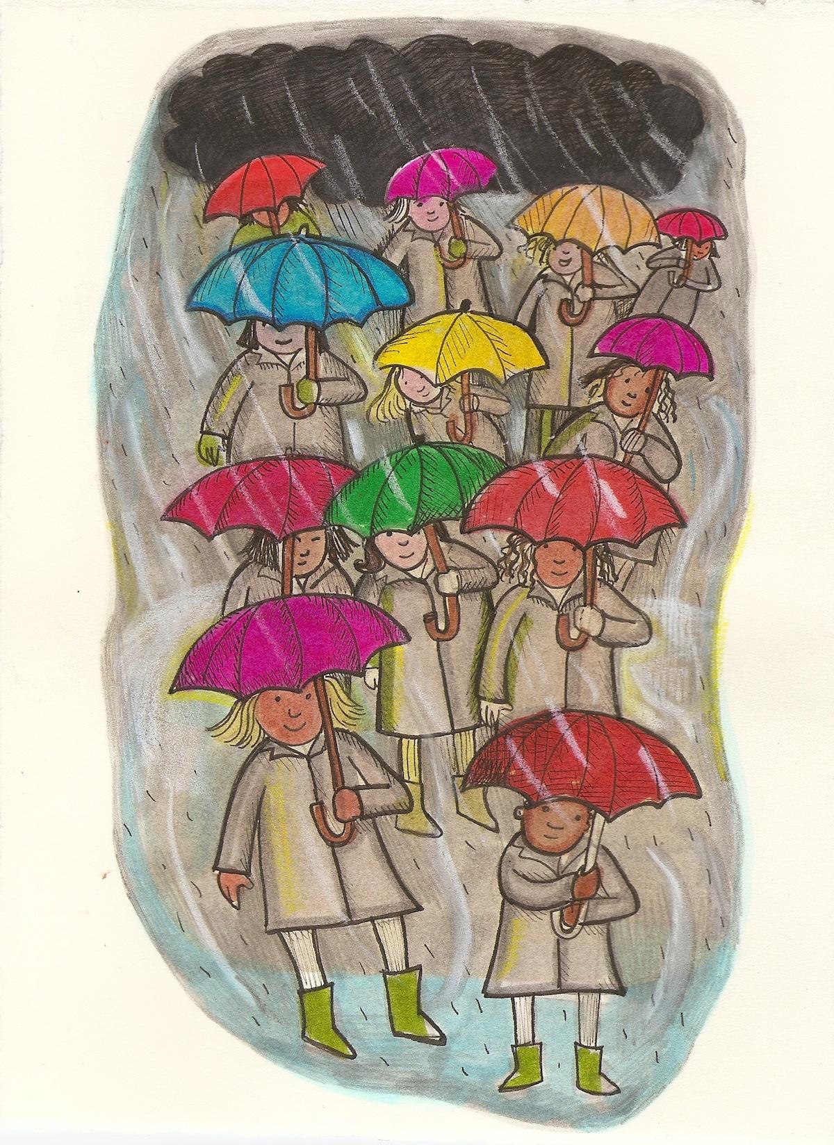 umbrella bring color to a grey