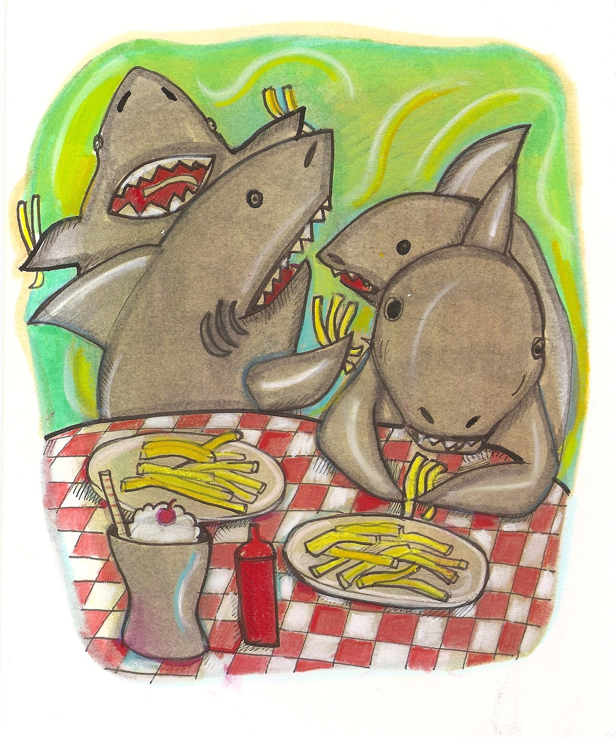 shark and french fries
